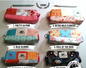 Pencil Pouch, Makeup Bag, Glasses Case, Lined and Quilted: Comes with Engraved Pencils