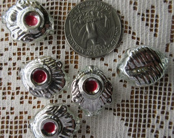 5 Silver Indents Glass Garland Beads Indent Christmas Garland Beads Czech Republic  RD