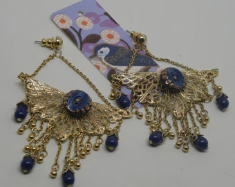Boho Etruscan Egyptian Revival Scarab Lace Wing Art Deco EARRINGS Antique Lapis Blue Satin Glass Buttons & Beads Miriam Haskell RGP Filigree