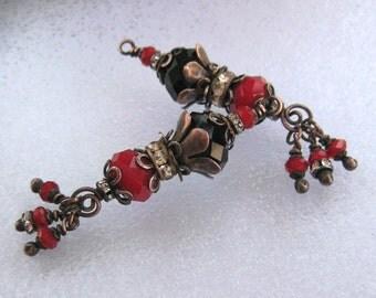 2 Fancy handmade glass bead dangle red and black