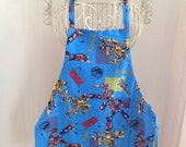 Full Body Apron Smock Children Boy Blue Robot with Pocket