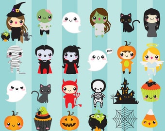 Halloween cute clip art - kawaii clipart cute whimsical vampire witch zombie black cat mummy haunted house pumpkins skeleton ghost