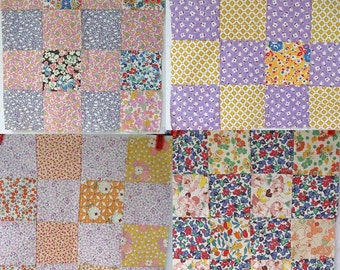 Group of 4 1940's Vintage 12 Inch Sq Size 16 Patch Feed Sack and  Cotton Calico Fabrics Quilt Squares, Blocks, Quilt, Creative Projects
