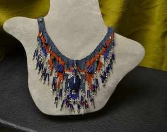 Blue Stone Woven Necklace 804