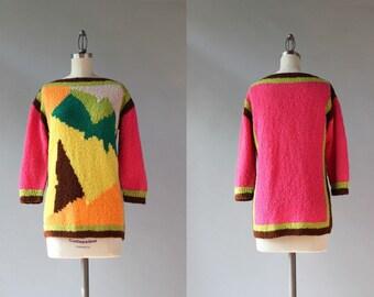 1960s Sweater / Vintage 60s Tunic Sweater / Bateau Neck Cubist Color Block Sweater