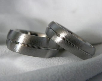 Titanium Ring SET, Wedding Bands, Mens Ring, Ladies Ring, Stone Finish