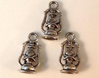 6 Camp Lantern Charms Antique Silver 3 Dimensional - SC98#GW