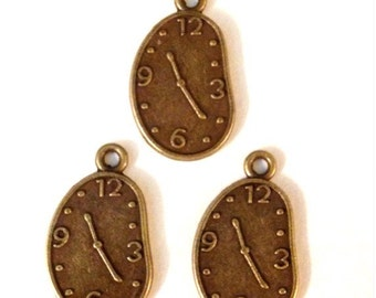 25 Dali / Alice in Wonderland Clock Charms Antique Bronze Tone - BC18#GE