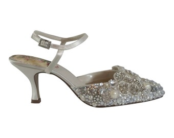 Cinderella Crystal + Pearl Wedding Shoes...Bejeweled Bridal Shoes Lots of Sparkle .. Low Heels .. Ankle Strap .. Free Postage Within the USA