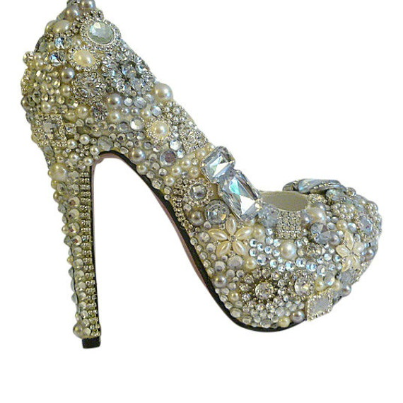 Cinderellas Wish... Crystal, Glass and Pearl covered high heels .. Wedding bespoke  custom design .. FREE Postage within the USA