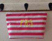 Beth's Personalized Large Stripes Oilcloth Cosmetic Toiletry Bag