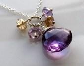 Purple Ametrine Charm Silver Necklace