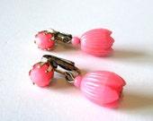 1950s Vintage Dangling Earrings / Pink Flower Drops / Clip-On Earrings