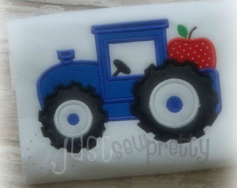 Tractor with Apple Embroidery Applique Design
