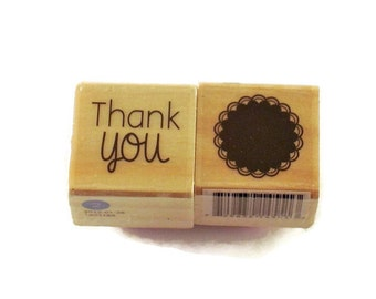 Mini  Rubber Stamp Set  -  thank you / scalloped circle