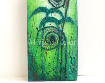 Unfurling XXI original mixed media artwork, home decor, fern, fiddleheads, collectible art mounted on cradled wood panel 12 x 6