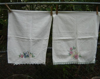 Vintage Pair Birds Embroidered Table Runners Cottage Chic 1970s