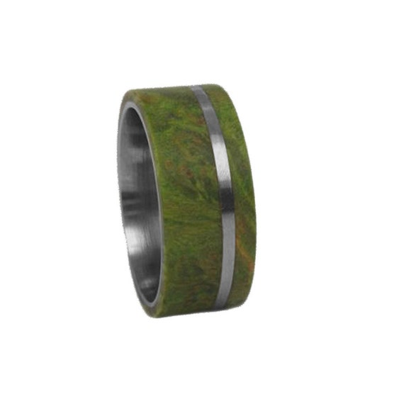 Wooden Wedding Band With a Titanium Pinstripe And Green Box Elder Burl Inlays, Simple Wood Ring