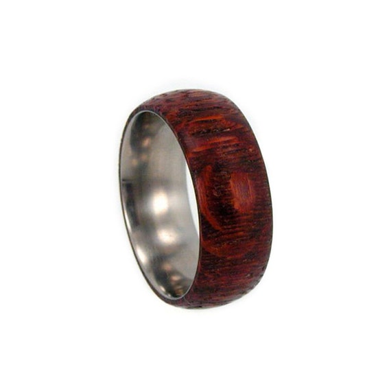 Wood Ring - Wedding Band Inspired - Highly Figured Leopardwood Overlay on Titanium Band - Available in Stainless Steel