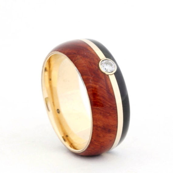 African Blackwood Bands: 14K Yellow Gold Ring African Blackwood Band By Jewelrybyjohan