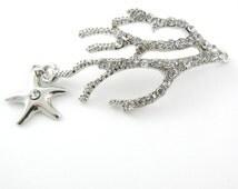 Double Link Silver-tone Rhinestone Coral and Starfish Pendant