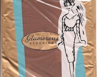 Vintage 60s Glamorous Mesh Nylon Stockings Size 10.5 NOS