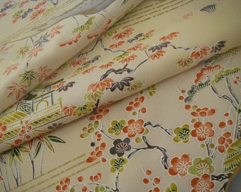 Vintage silk Japanese kimono fabric (plum flower)