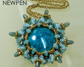 NEWPEN Pendant PDF Beading tutorial with SuperDuo O-Beads and Czech Daggers for personal use only