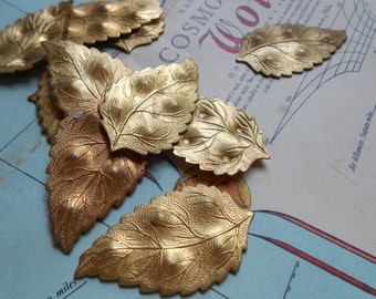 6 pcs art nouveau leaf leaves floral flower stamping - vintage old new stock jewelry craft supplies in raw brass
