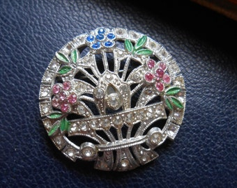 rhinestone art deco flower basket brooch good condition - vintage antique costume jewelry