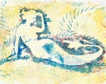 Artsy Mermaid Art, Yellow and Blue, Art Deco Mermaid, Mermaid Nursery Art, Pastel Colors, Fantasy Wall Art, Pastel Print, Fantasy Art Print