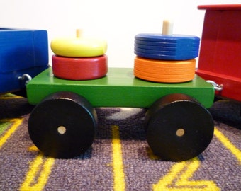 Toy Train Green Flat Car with 4 Pieces of wood that stack - Handcrafted Wooden Toy Train Flat Car with Red, Blue, Orange and Yellow Pieces