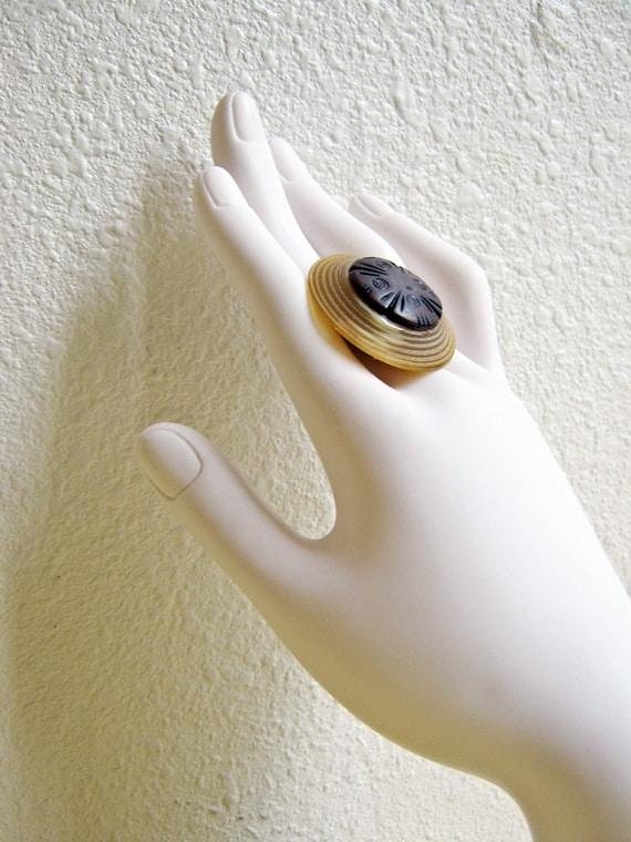 Vintage Button Ring, Caramel Swirl, Chocolate Brown, Tan, Ivory, Vintage Button, Button Ring, Carmel and Brown, Handmade, adjustable
