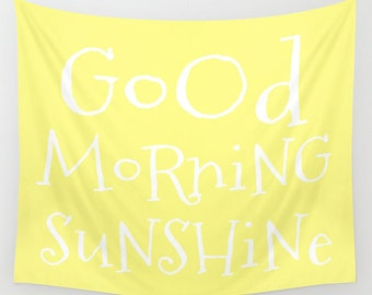 Good Morning Sunshine Tapestry, Large Wall Decor, Lemon Yellow Decor, Modern Wall Hanging, Dorm Privacy Screen, Contemporary Art, Happy,Text