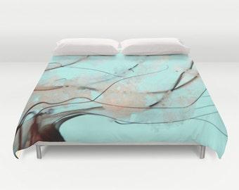 Jellyfish Duvet Cover, Ocean Blue Decorative bedding, Pacific Sea Nettle, Nautical Decor, Aqua Blue bedroom, Surf, Water, Ocean Blue Bedding