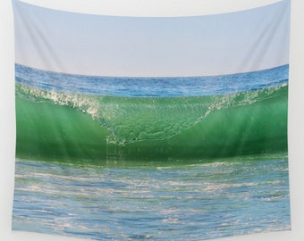 Ocean Wave Tapestry, Nautical Tapestry, Coastal Large Wall Decor, Surf Photo Tapestry, Aqua Blue Green Tapestry, Nature Tapestry, Beach, Sea