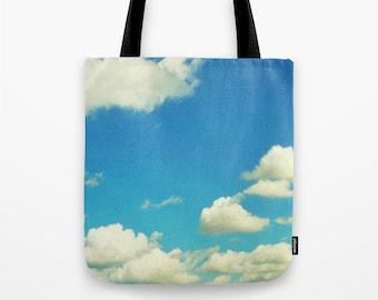 Cloud Tote Bag, Ocean Blue Sky Tote, Cloudy Sky Tote, Beach Tote, Shopping Tote, Book Bag, Shoulder Bag, Market Tote, Cute Tote, White Tote