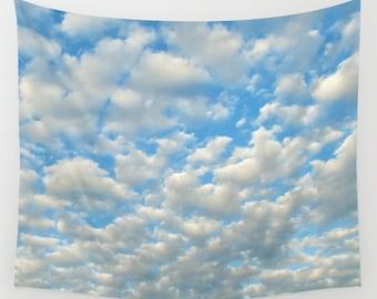 POPCORN CLOUDS - Wall Tapestry, modern, home decor, nature, fine art, photography, inspirational, dreamy, cloudy sky, office, dorm, nursery