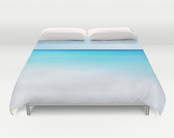 OCEAN Waters Duvet Cover, Ocean Decorative bedding, unique design, Nautical comforter cover, Aqua Blue, Surf, Calm Waters, Blue Shades, Dorm