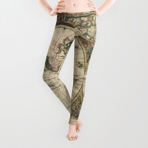 Old World Map Leggings, Map Yoga Pants, Unique Fashion, Vintage Map Yoga Leggings,Women, Teen Active Wear, Running Pants, Jogging Pants,Surf
