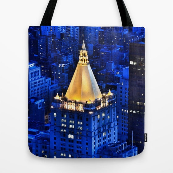 New York Life Building Tote Bag, 13x13, 16x16, 18x18, Blue Tote,City Tote, Beach Tote, Shopping Tote, Office Tote, Shoulder Bag, Market Tote