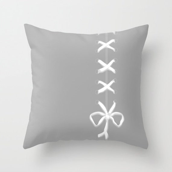 Grey Throw Pillow, White Ribbon Print Pillow, Laces Pillow, Decorative Pillow Cover, Boudoir Home Decor, Patio, Outdoor, Cute Pillow, Unique