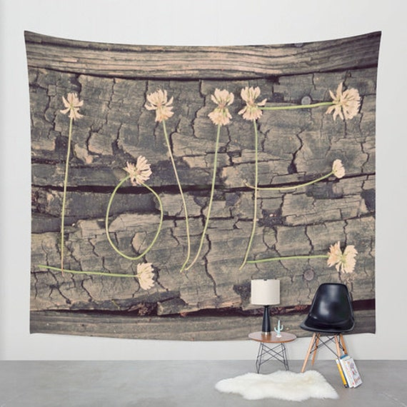 LOVE Tapestry, Large Wall Tapestry, Washable, for Indoor, Outdoor, Home, Fine Art, Wedding Gift, Privacy screen, Dreamy, Dorm Decor, Wood