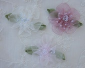 6pc Glass Beaded Pink Ivory Organza Fabric Flower Applique Baby Doll Christening Bridal Corsage