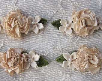 4 pc Applique Champagne Tan Satin Ribbon Carnation Rose Pearl Flower Floral Dog Baby Bow