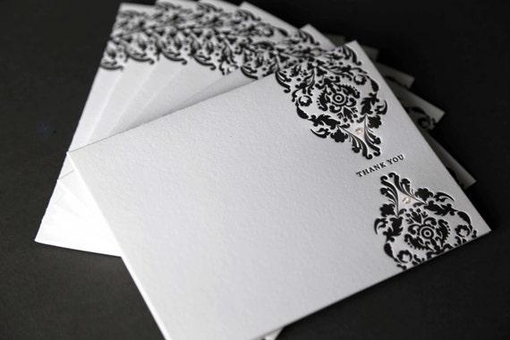 "Set of 6 Wedding Brocade Swarovski Crystal ""Thank You"" Letterpress Cards"