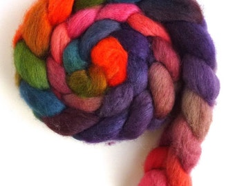 BFL Wool Roving - Hand Painted Spinning or Felting Fiber, Autumn Sunset