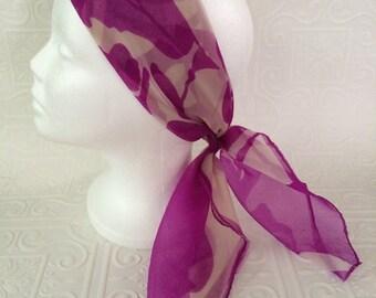 Purple print nylon chiffon vintage sheer scarf