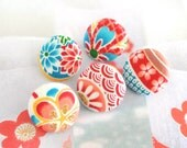 """Handmade Japanese Asian Red Blue White Floral Flowers Fabric Covered Buttons, Sweet Japanese Flower Floral Fridge Magnets, 1 Inch"""" 5's"""