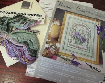 Elsa Williams Heritage Collection Iris Mosaic 03218 Counted Cross Stitch Kit Open but Complete